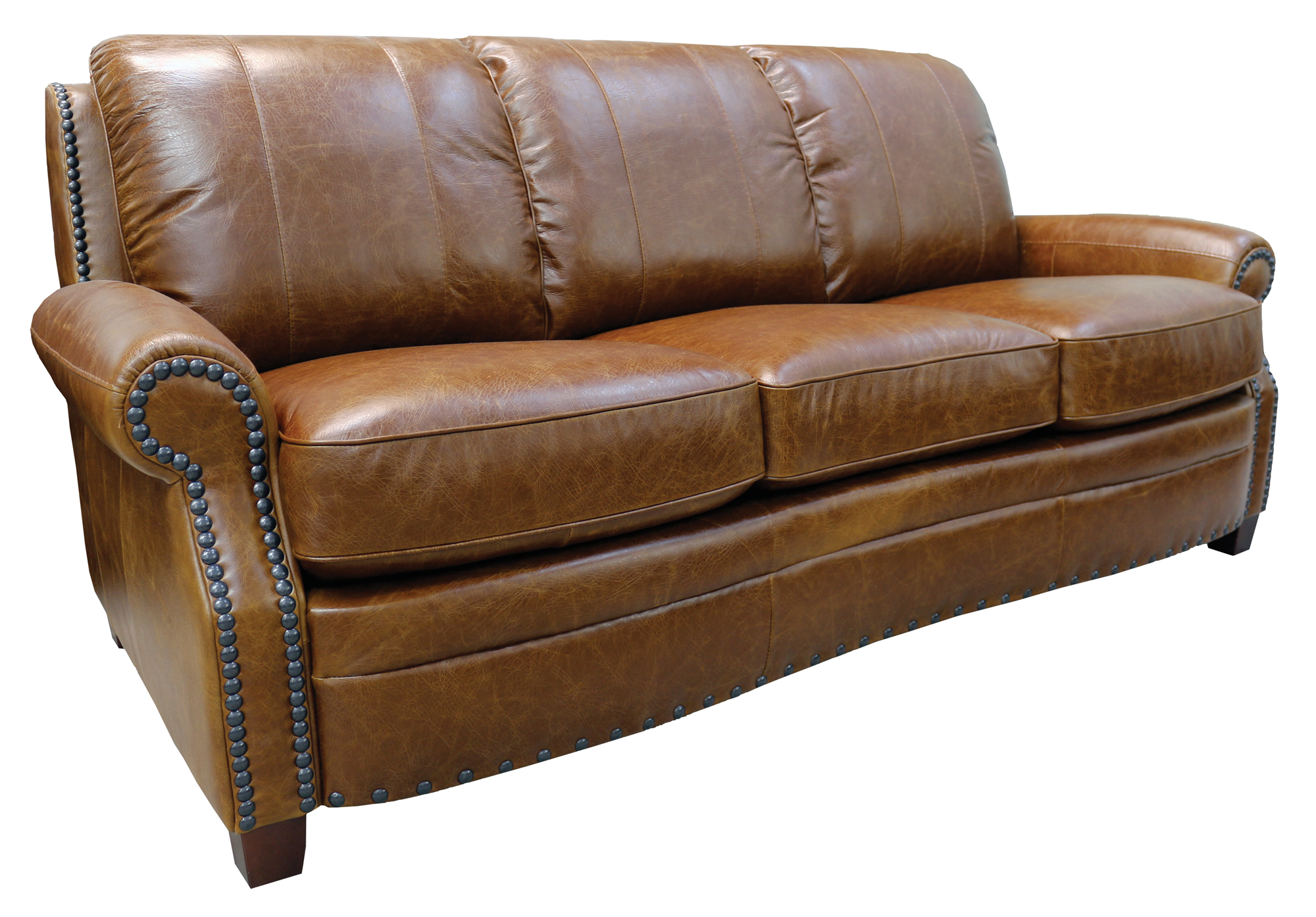 Ashton Group Luke Leather Furniture ~ Brown Leather Sofa With Studs