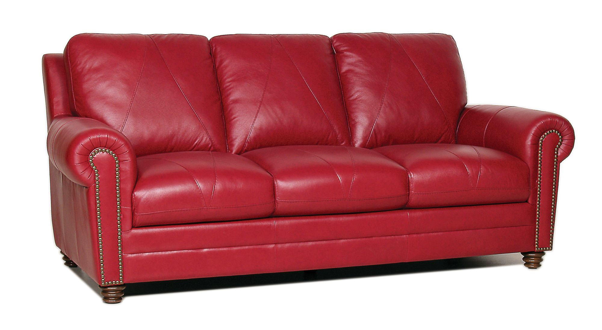 New luke leather weston cherry red italian leather 3pc for Furniture leather sofa