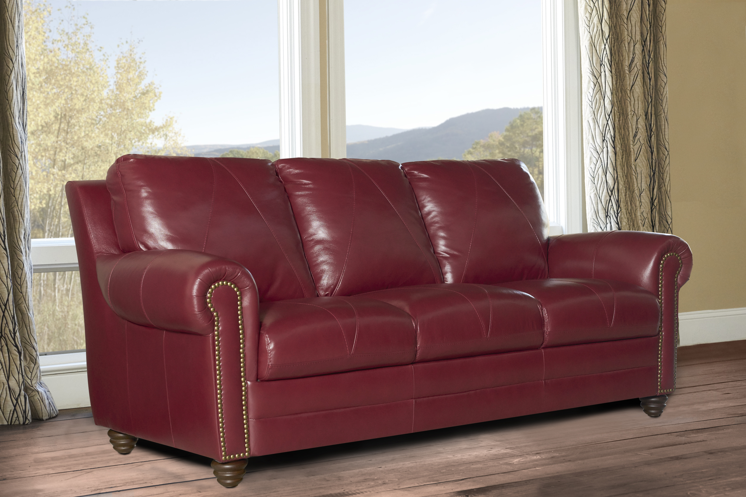 New Luke Leather Weston Cherry Red 3 Piece Set Sofa Loveseat Chair Free Ship