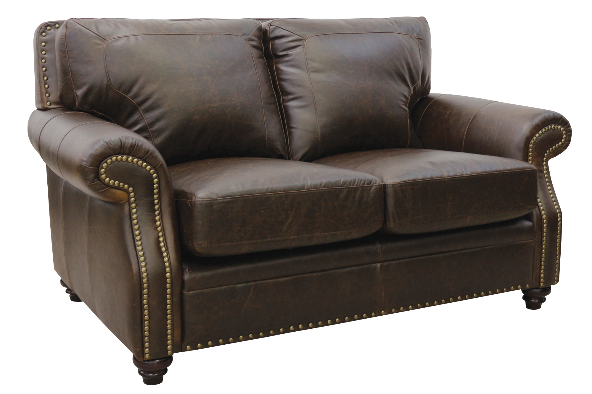 New Luke Leather Furniture Italian Made Mason Chocolate Brown Loveseat Ebay